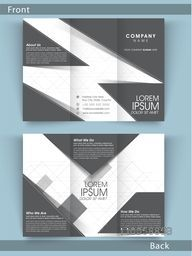 Creative Tri Fold business flyer, template or brochure in black and white color combination with place holders.