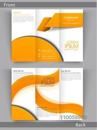Tri Fold business flyer, template or brochure in orange and white color combination with place holders for your content.
