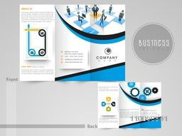 Creative three fold flyer, template or brochure for your company with business infographic symbols on grey background.