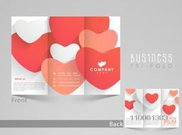 Stylish trifold brochure, catalog and flyer template for love purpose with red heart.