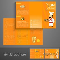 Professional trifold brochure, catalog and flyer template for cafe or restaurant business purpose.