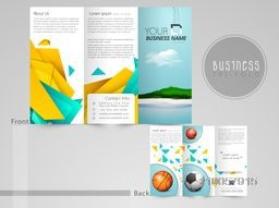 Professional trifold brochure, catalog and flyer template for Sports concept.