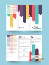 Business Trifold Brochure, Template or Flyer design with front and back page presentation.