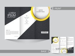Front and back page view of a Professional Trifold Brochure, Template or Flyer design with space for your images.