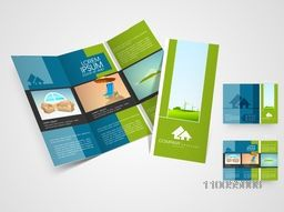 Stylish trifiold flyer, brochure or catalog for travel, tour and tourism.