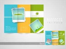 Stylish trifold flyer, brochure or catalog design for tour, travel and tourism.