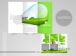 Save energy concept, trifold brochure, catalog or flyer template.