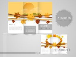 Professional trifold brochure, catalog or flyer template with maple leaves.