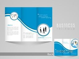 Professional business tri-fold, flyer, template or corporate brochure design with front and back page view in blue and white color.