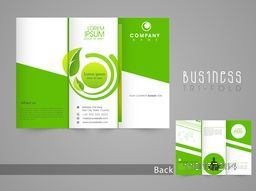 Stylish save nature brochure, tri fold or template design with front and back page presentation.