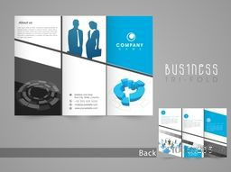 Professional business tri-fold, flyer, template or brochure design in blue and grey color.