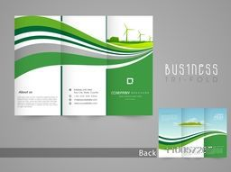 Stylish save nature tri-fold, flyer, template or brochure in green and white color.