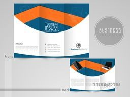Professional three fold flyer, corporate brochure and template for business purpose on grey background.