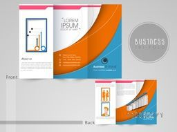 Professional three fold flyer, template or brochure with infographics for business purpose.