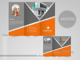 Professional three fold flyer, brochure or template for business purpose with infographics symbols.