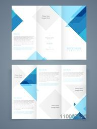 Corporate business trifold, flyer, template or brochure with blue abstract design in front and back page presentation.