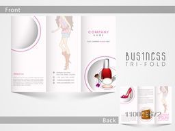 Creative Tri Fold brochure, template or flyer design of fashion accessories with place holders for your content.