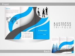 Tri Fold business flyer, template or brochure design for your professional presentation.