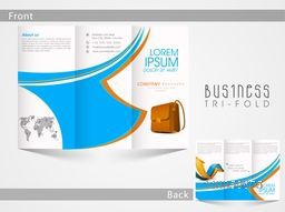 Corporate Tri Fold flyer, brochure or template design with front and back page presentation.
