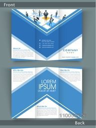 Professional Tri Fold flyer, brochure or template design in blue and white color for your corporate need.