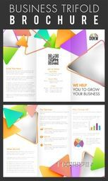 Professional Three Fold Brochure design with colorful triangles for your Business.