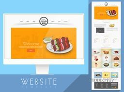 Creative website template layout presentation for your bakery or restaurant business purpose.