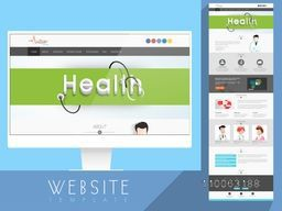 Shiny website template layout with desktop presentation, based on health and medical concept.