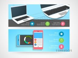Website header or banner set with laptop and mobile.