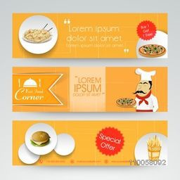 Fast food corner website header or banner set with special offer.