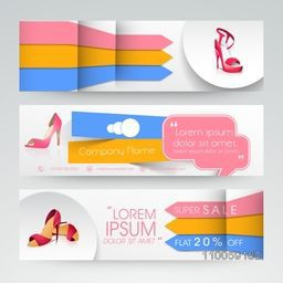 Website header or banner set of woman's sandal sale with discount offer.