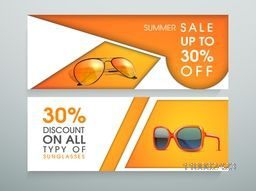 Summer sale of sunglasses website header or banner set with discount offer.