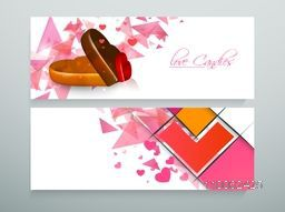 Beautiful website header or banner set with heart shape candies and love candy text for candy shop.