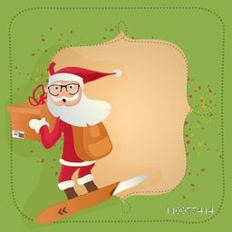 Merry Christmas celebration greeting card design with Santa Claus and space for your message.