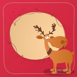 Merry Christmas celebration greeting card design with illustration of reindeer and blank space for your message.
