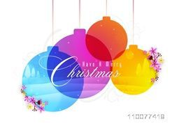 Merry Christmas celebration greeting card design with colorful hanging Xmas Balls on floral decorated background.