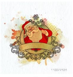Elegant greeting card decorated with Santa Claus and floral design for Merry Christmas celebration.
