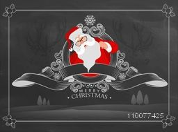 Merry Christmas celebration greeting card design with illustration of Santa Claus and stylish ribbon on creative chalkboard background.