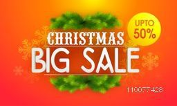 Christmas Big Sale with 50% discount offer, Elegant poster, banner or flyer design decorated with fir tree branches and snowflakes.