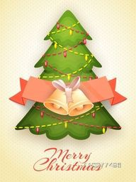 Glossy Flyer, Banner or Pamphlet with creative Xmas Tree and Jingle Bells for Merry Christmas celebration.