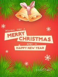 Fir tree branches decorated Flyer, Banner or Pamphlet with Jingle Bells for Merry Christmas and Happy New Year celebrations.