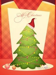 Merry Christmas celebration Flyer, Banner or Pamphlet with creative Xmas Tree shining in spotlights.