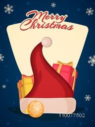 Snowflakes decorated Flyer, Banner or Pamphlet with Santa cap, gift and Xmas Balls for Merry Christmas celebration.