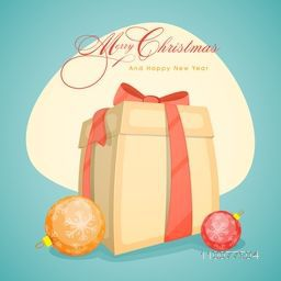 Greeting card with Snowflakes decorated Xmas Balls and gift for Merry Christmas and Happy New Year celebrations.