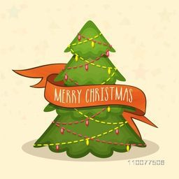 Creative Xmas Tree with ribbon on stars decorated background for Merry Christmas celebration.