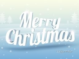 3D shiny text Merry Christmas on Xmas Tree decorated, winter background.