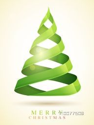 Stylish Flyer, Banner or Pamphlet with glossy green Xmas Tree for Merry Christmas celebration.