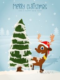 Merry Christmas celebration with cute Reindeer in Santa hat and Xmas Tree covered by snow on winter background.