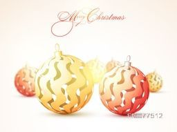 Merry Christmas celebration with creative glossy Xmas Balls.