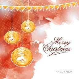 Elegant greeting card design decorated with creative hanging Xmas Balls on stylish background for Merry Christmas celebration.