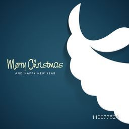 Merry Christmas and Happy New Year celebration with Santa Claus beard and moustache on blue background.